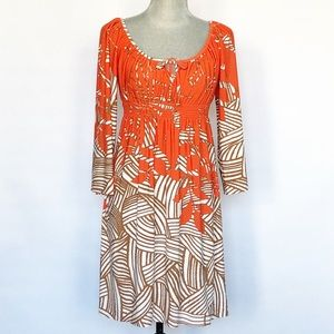Muse Fall Orange Jersey Long Sleeve Dress SZ 4